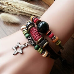 Vintage Classic Alloy Leather Rope Wood Beads With Butterfly Star Women's Men's Bracelets