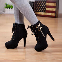 Women's PU Stiletto Heel Boots With Ribbon Tie shoes