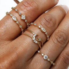 Pretty Round Alloy Rhinestones With Moon Rings 5 PCS