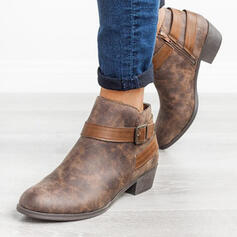 Women's PU Chunky Heel Ankle Boots Round Toe With Buckle Zipper shoes