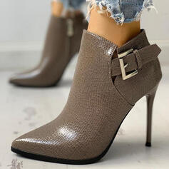 Women's PU Stiletto Heel Martin Boots Pointed Toe With Buckle Solid Color shoes