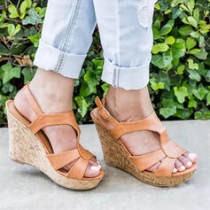 Women's PU Wedge Heel Sandals Pumps Wedges Peep Toe Heels Round Toe With Buckle Hollow-out Solid Color shoes
