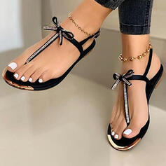 Women's PU Flat Heel Sandals Flats Flip-Flops With Bowknot shoes
