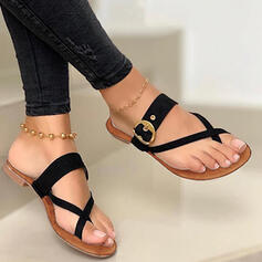 Women's PU Flat Heel Sandals Flats Flip-Flops Slippers With Hollow-out Crisscross shoes