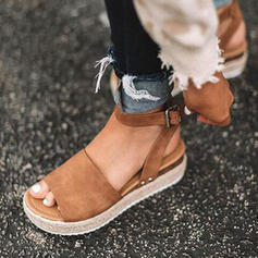 Women's Leatherette Wedge Heel Sandals Wedges With Split Joint shoes