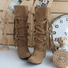 Women's Suede Chunky Heel Mid-Calf Boots Round Toe With Tassel Solid Color shoes