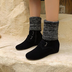 Women's Suede Chunky Heel Mid-Calf Boots Round Toe With Zipper shoes