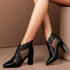 Women's Cloth Mesh Chunky Heel Pumps Pointed Toe With Stitching Lace Hollow-out Solid Color shoes