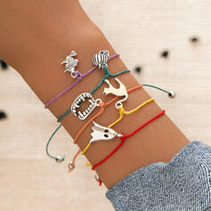 Halloween Ghost Black Cat Alloy Braided Rope With Tag Bracelets 5 PCS