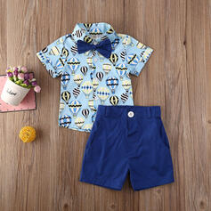 2-pieces Toddler Boy Bowknot Cartoon Button Print Cotton Set