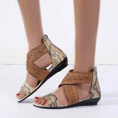 Women's PU Low Heel Sandals Peep Toe Slingbacks With Crisscross shoes