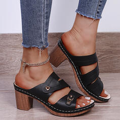 Women's PU Chunky Heel Sandals Pumps Peep Toe Slippers Heels With Buckle Hollow-out Solid Color shoes