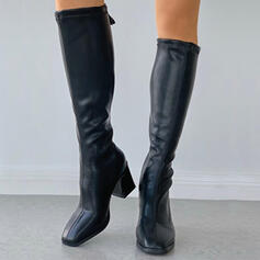 Women's PU Chunky Heel Knee High Boots Square Toe With Zipper Solid Color shoes