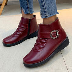 Women's PU Flat Heel Ankle Boots Snow Boots Round Toe With Buckle shoes
