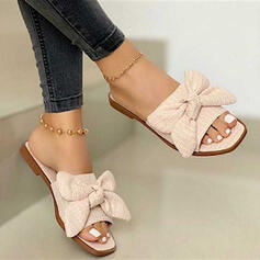 Women's PU Flat Heel Sandals Peep Toe With Bowknot shoes