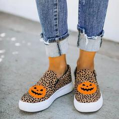 Women's Canvas Flat Heel Flats Sneakers With Animal Print Splice Color shoes
