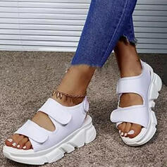Women's PU Wedge Heel Sandals Platform Wedges Peep Toe Slippers Heels With Hollow-out Velcro shoes