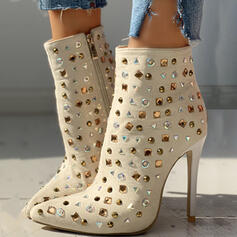 Women's PU Stiletto Heel Mid-Calf Boots Pointed Toe With Rhinestone Zipper shoes