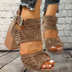 Women's PU Chunky Heel Sandals Peep Toe With Buckle Hollow-out shoes