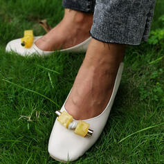 Women's PU Chunky Heel Pumps Square Toe With Flower shoes
