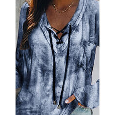 Tie Dye Lace-up V-Neck Long Sleeves Casual Blouses