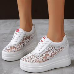 Women's Cloth Mesh Others Flats Round Toe Sneakers With Stitching Lace Lace-up shoes