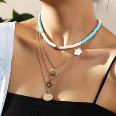 Boho Layered Alloy Resin With Rhinestone Coin Necklaces 4 PCS