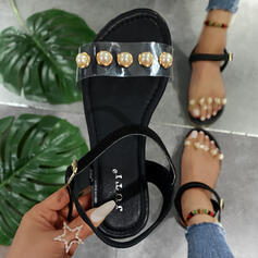 Women's PU Flat Heel Sandals Slippers With Pearl shoes