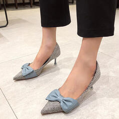 Women's PU Stiletto Heel Pumps High Top Pointed Toe With Bowknot Splice Color shoes
