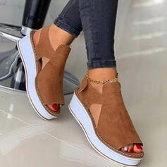 Women's Suede Wedge Heel Sandals Platform Wedges Peep Toe Heels With Hollow-out Velcro shoes