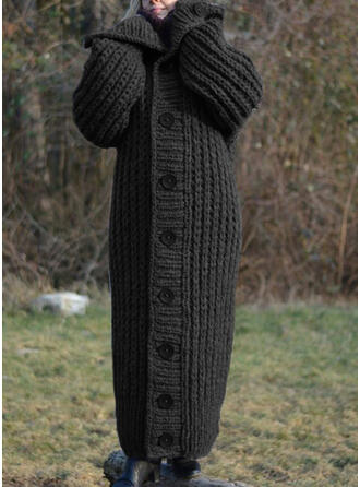 Solid Chunky knit Lapel Casual Long Cardigan