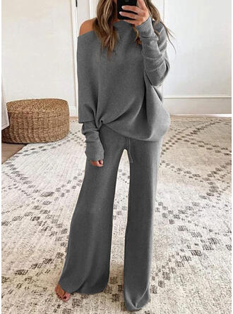 Solid Shirred Casual Elegant Suits