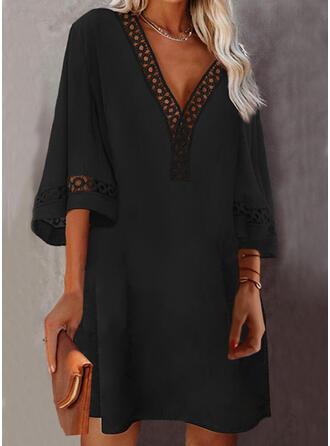 Solid Lace 3/4 Sleeves Shift Above Knee Little Black/Casual Tunic Dresses