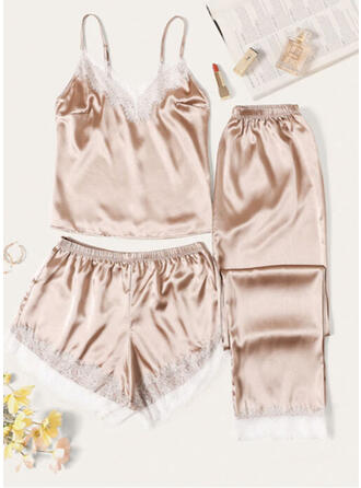 Satin Halter Sexy Eyelash Lace 3pcs Cami Set
