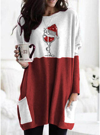 Print Color Block Sequins Round Neck Long Sleeves Christmas Sweatshirt