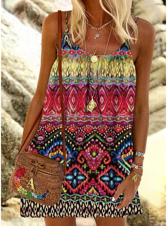 Print Sleeveless Shift Above Knee Boho Slip Dresses