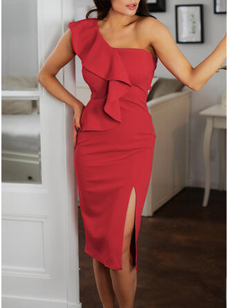 Solid Sleeveless Bodycon Pencil Party/Elegant Midi Dresses