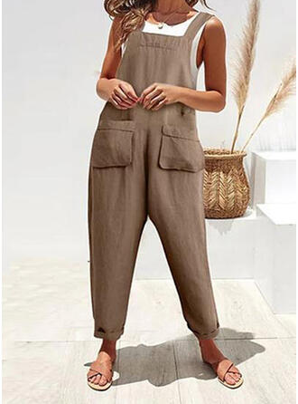 Pockets Shirred Long Casual Plain Jumpsuits & Rompers