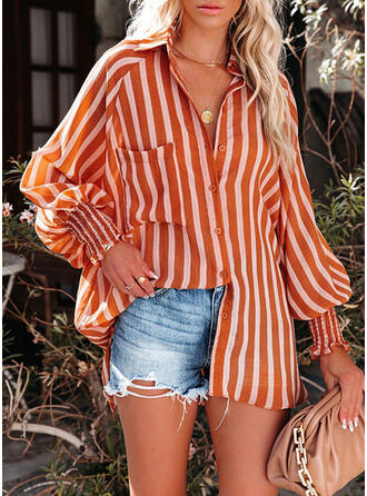 Print Striped Lapel Long Sleeves Casual Blouses