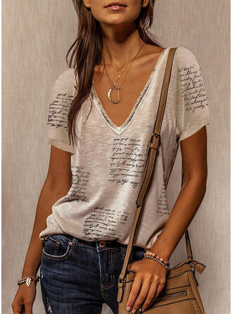 Figure Print V-Neck Short Sleeves T-shirts