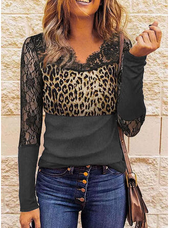 Print Leopard Lace V-Neck Long Sleeves Casual Blouses