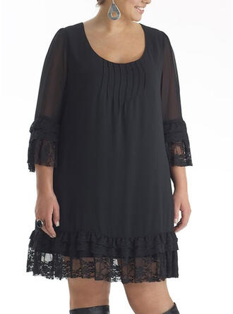 Plus Size Lace Solid 3/4 Sleeves Shift Above Knee Casual Little Black Dress