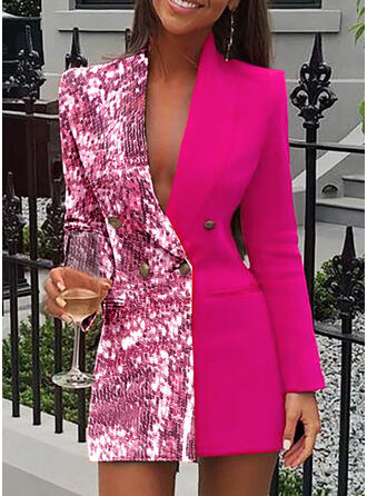 Sequins Long Sleeves Bodycon Above Knee Casual/Elegant Dresses