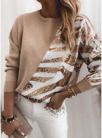 Patchwork Sequins Round Neck Casual Sweaters