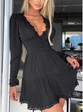 Lace/Solid Long Sleeves A-line Above Knee Little Black/Casual Skater Dresses