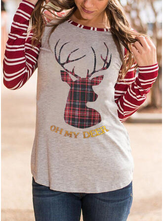 Striped Round Neck Long Sleeves Christmas T-shirts