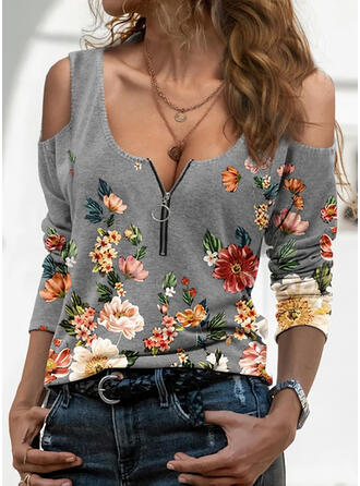 Print PolkaDot Cold Shoulder Long Sleeves Casual Blouses