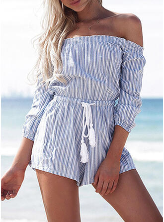 Striped Off the Shoulder Long Sleeves Casual Romper