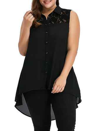 Lace Solid Lapel Sleeveless Button Up Casual Elegant Plus Size Tank Tops