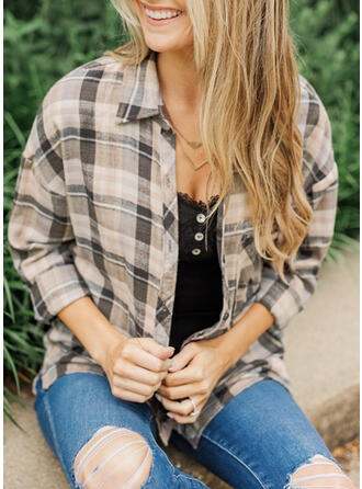 Plaid Lapel Long Sleeves Dropped Shoulder Casual Office/Business Blouses